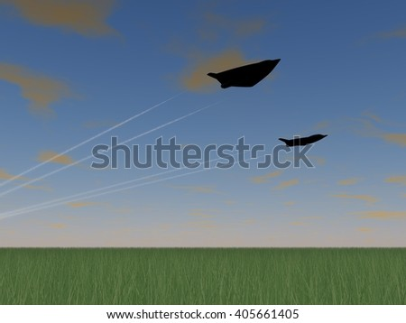 low pass of 2 futuristic fictional black stealth fighter airplane operating a formation flight above a field of grass - stock photo