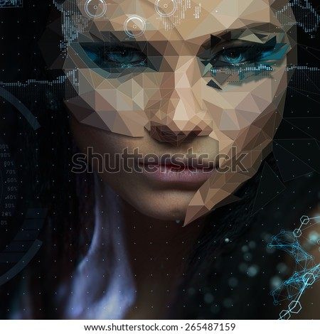 Low poly abstract portrait of a beautiful girl. Cybernetic Futuristic Concept for your Design. - stock photo
