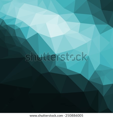low poly blue and black background design, dramatic blue and white angles against dark black background, geometric shapes - stock photo