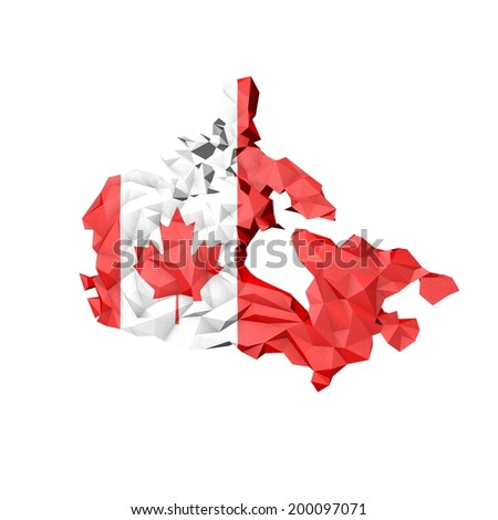 Low Poly Canada Map with National Flag - Infographic Illustration - stock photo