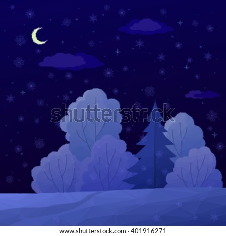 Low Poly Christmas Landscape, Night Winter Forest with Coniferous and Deciduous Trees and Snow.