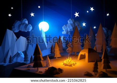 Low Poly 3D handemade feel camping adventure landscape. Camping under a full moon. - stock photo