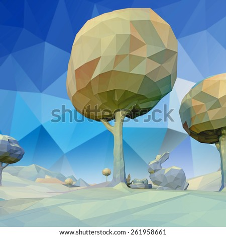 Low Poly Easter Landscape 3D - stock photo