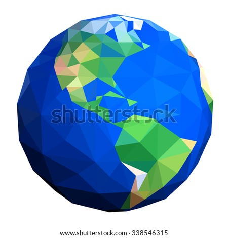 Low poly globe showing Americas - stock photo