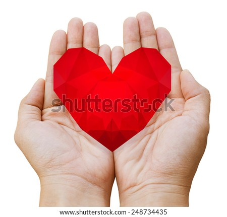 Low poly heart in hands