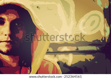 Low poly illustration of young man portrait in hooded sweatshirt, jumper on grunge graffiti wall - stock photo