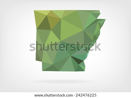 Low Poly map of Arkansas state - stock photo
