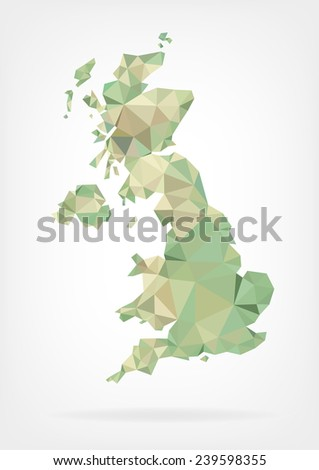 Low Poly map of United Kingdom - stock photo