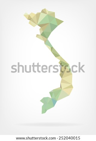 Low Poly map of Vietnam - stock photo