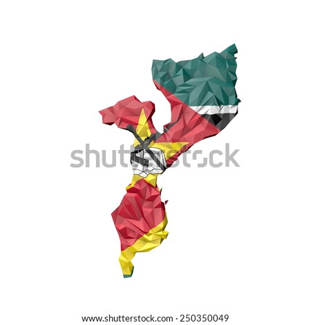 Low Poly Mozambique Map with National Flag - Infographic Illustration - stock photo