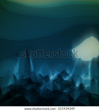 low poly night scape with cartoon clouds and moon - stock photo