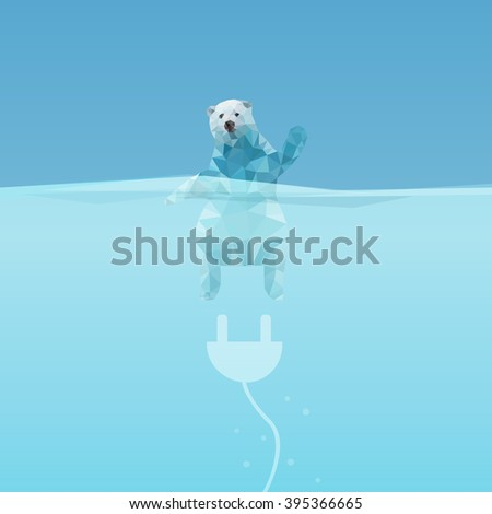 low poly Polar bear  in the sea with plug, great for environment concept  - stock photo