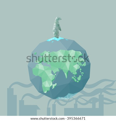 low poly Polar bear  on the iceberg with earth and factory pollution, great for environment concept  - stock photo