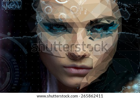 Low Poly portrait of a beautiful girl. Cybernetic Futuristic Concept for your Design. Electronic Artificial Eyes. Infographics shining elements. - stock photo