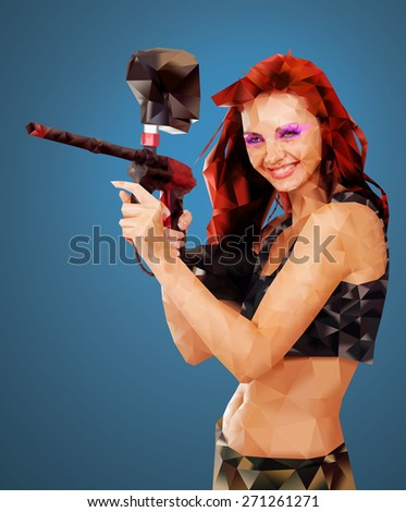 Low Poly Portrait of a Sexy young girl posing like playing paintball - stock photo