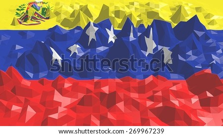 low poly relief surface textured by venezuela national flag - stock photo