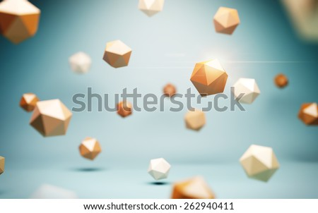 Low poly spheres at blue background. Abstract illustration. - stock photo