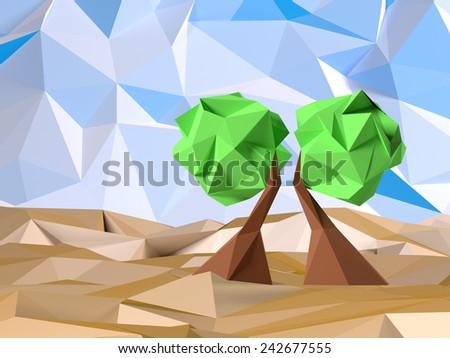 Low Poly Tree - stock photo