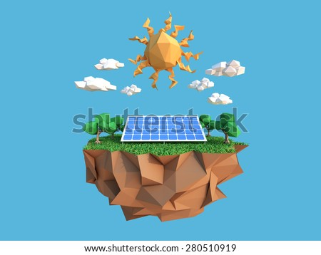 low polygon environment and solar panel  - stock photo