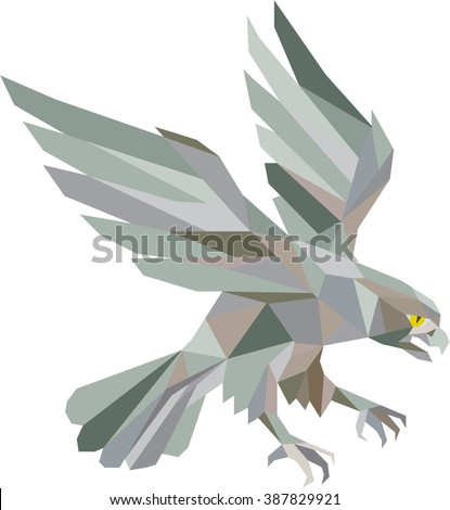 Low polygon style illustration in grey of a peregrine falcon hawk eagle bird swooping viewed from the side set on isolated white background done in retro style. - stock photo