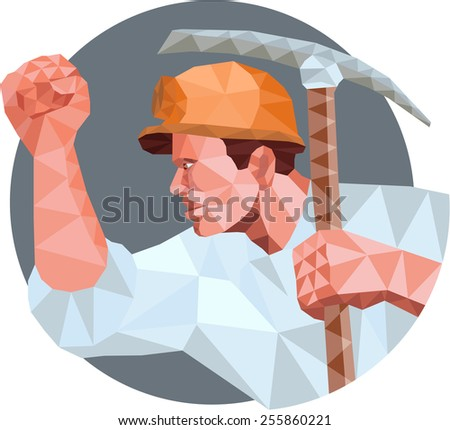 Low Polygon style illustration of a coal miner wearing hardhat pumping fist  holding pick axe and showing fist viewed from the side set inside circle. - stock photo