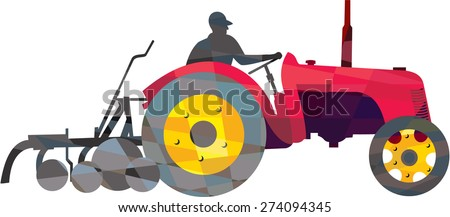 Low polygon style illustration of a farmer driver driving riding vintage tractor plowing field viewed from side set on isolated white background.  - stock photo