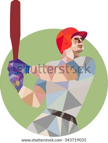 Low polygon style illustration of an american baseball player batter hitter holding bat batting viewed from the side set inside circle on isolated background. - stock photo