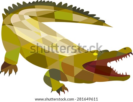 Low polygon style illustration of an angry alligator crocodile gaping mouth set on isolated white background. - stock photo