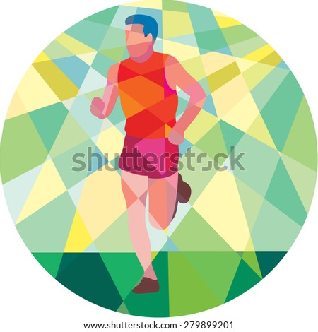 Low polygon style illustration of marathon triathlete runner running facing front set inside circle. - stock photo