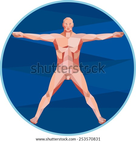 Low Polygon style illustration on the Da Vinci man Vitruvian Man male human anatomy showing a male spread eagle spreading arms viewed from front set inside circle on isolated background. - stock photo
