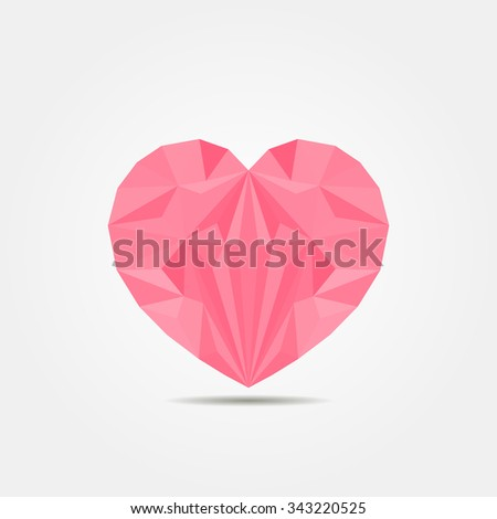 Low polygonal geometric heart with shadow