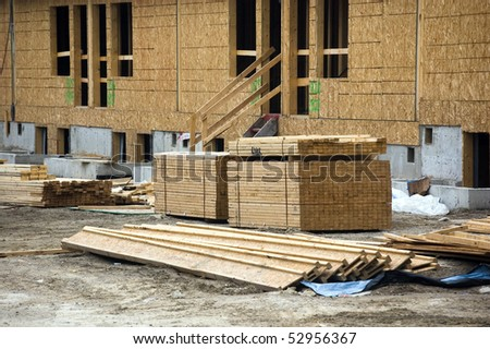 low-rise building on construction site - stock photo