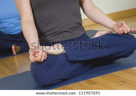 Low section of a woman meditating in lotus position - stock photo