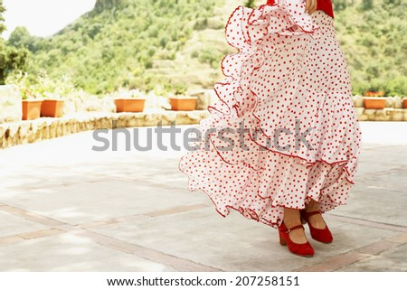 Low section of female flamenco dancer dancing outdoors - stock photo