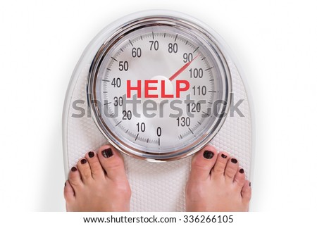 Low section of woman on weight scale with help text over white background - stock photo
