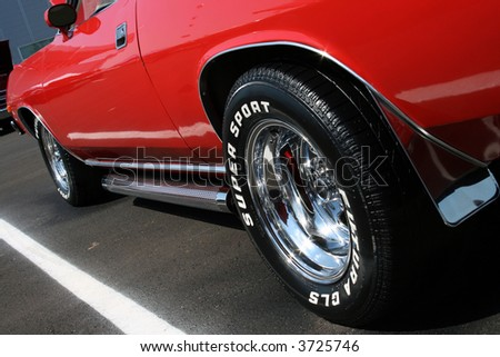 Low Shot of a Classic Car - stock photo