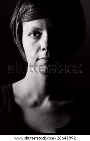 Low Shot of a Pensive Female - stock photo