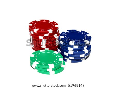 low stock of red blue and green poker chips isolated in white background