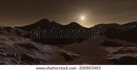 Low sun setting over Martian highlands - stock photo