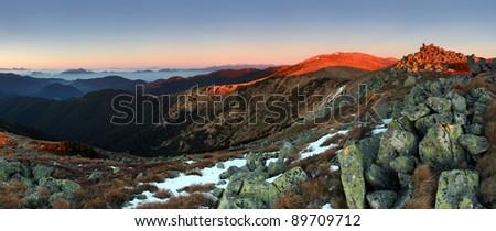 Low Tatras in sunset - Durkova peak - Slovakia mountain. - stock photo