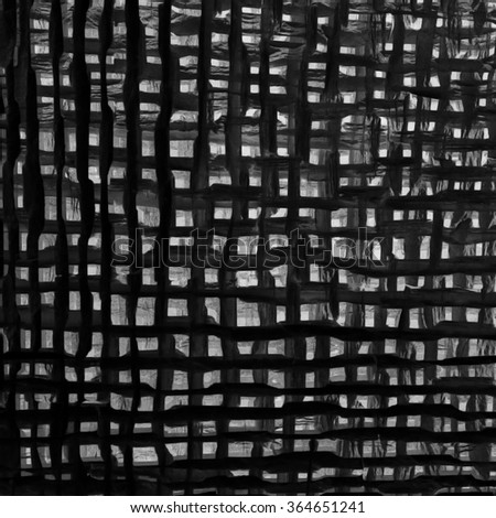 Low-tech grid / medieval cage. Abstract digital black-and-white illustration. Expressive checkered background with uneven structure, rough texture and coarse lines.