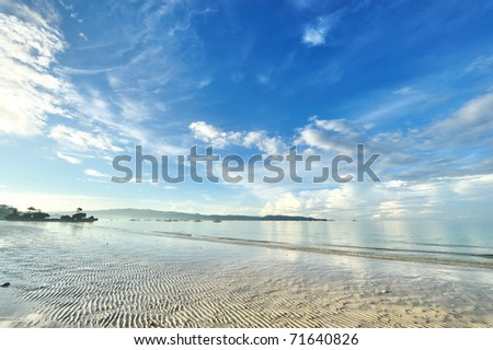 Low tide at Boracay beach, Philippines - stock photo