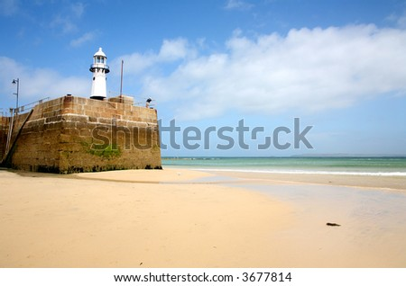 Low tide at Smeaton's Pier St. Ives cornwall - stock photo