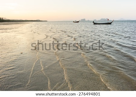 low tide at sunset on Andaman sea, Thailand - stock photo