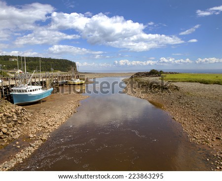 Low tide at the Bay of Fundy, Nova Scotia, Canada - stock photo