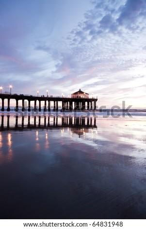 Low Tide Reflection Manhattan Beach Pier Wide Angle - stock photo
