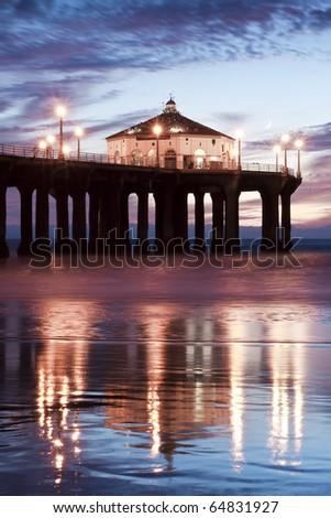 Low Tide Reflections Manhattan Beach Pier - stock photo