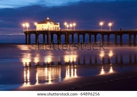 Low Tide Reflections Nightfall Manhattan Beach Pier - stock photo
