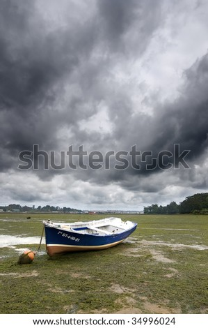 Low tide with a boat