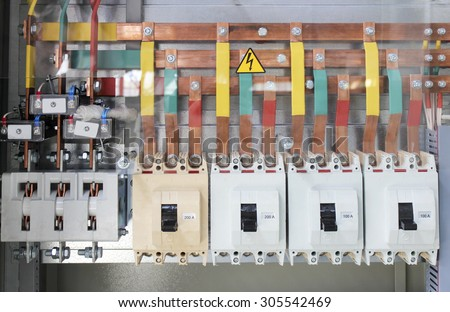 Low-voltage electrical control cabinet to the current high-power - stock photo